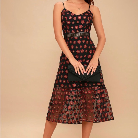 36ad70afc Jack by BB Dakota Dresses | Magic Hour Black Floral Embroidered Midi ...